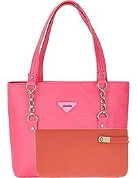 SALEBOX Women's Top Handle Buckle Chain Leather Handbag With Wallet Combo -Pink