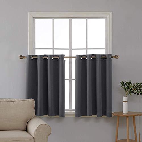 Halbgardine mit Ösen Küche Scheibenvorhang Fenster 92x140 cm Dunkelgrau 2er Set ()