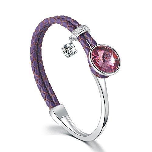 PLATO H Echt-Leder Armband Wunderbares Leben Runde Anhänger Lila Kristall von Swarovski Damen Frauen Armband mit Metalllegierung Legierung Echtleder Armreifen