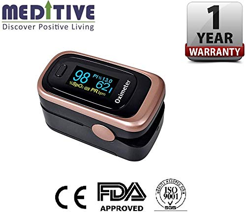 MEDITIVE FDA/CE Certification Oxygen Monitor Finger, Upgraded Spo2 Pulse Oximeter, Blood Saturation with OLED Display, Lanyard for Children and Adults