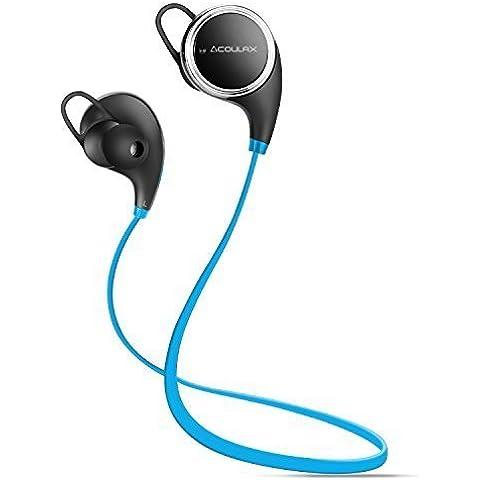 COULAX QY8 Auriculares Inalámbricos Cascos Deportivos Bluetooth 4.1 de Manos Libre Estéreo Resistentes al Sudor con Mic/APT-X para iPhone 6s, Samsung Galaxy S6 y S5 y teléfonos Android, Color Azul