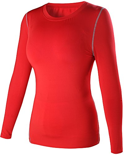 Women's Dry Fit Athletic Compression Long Sleeve T Shirt #2019 Red L (Tag XL)
