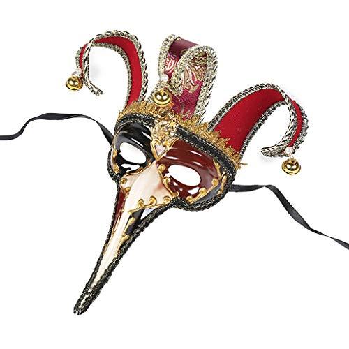 Exotische Männliche Kostüm - Venezianische Maskerade kleine Lange Nasenmaske, männliche und weibliche Halloween Party Party Maske (rot)