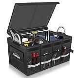 Oasser Kofferraumtasche AutoKofferraum mit Deckel Auto Faltbox Auto Kofferraum mit Klett Organizer Auto Aufbewahrungsbox Taschen Praktisch und Wasserdicht (E3-kofferraumtasche)