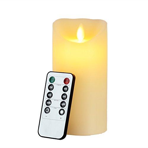 Newcomdigi Vela de LED Decorativa Vela Electrica Sin Llama con Temporizador y Mando a Distancia Vela LED de Cera Real con Remoto Control, Diámetro 3 pulgadas, Altura 6 pulgadas