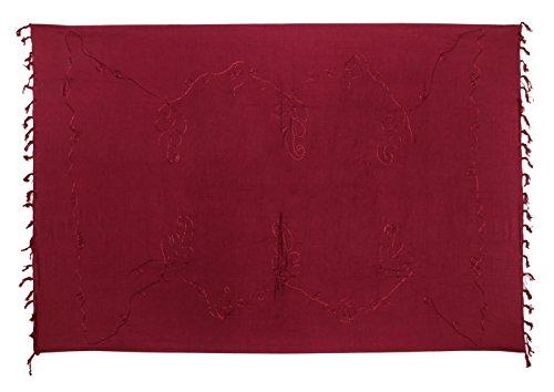 Sarong Pareo Wickelrock Strandtuch Tuch Wickeltuch Handtuch - Blickdicht - ca. 170cm x 110cm - Fuchsia Einfarbig mit Stickerei Handgefertigt inkl. Kokos Schnalle in Schmetterlingform