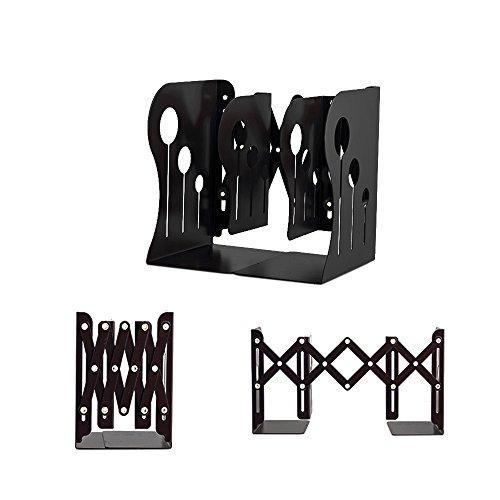 Delmkin Buchstütze Metall Faltbare Teleskopische Buchstützen für Hause und Büro Dekoration (schwarz)