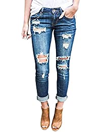 Wisptime Jeans Déchirés Slim pour Femmes Pantalons Élastiques Pantalons  Boyfriend 9935398e4a8b