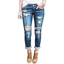 Wisptime Jeans Déchirés Slim pour Femmes Pantalons Élastiques Pantalons  Boyfriend 5b9589cb1f42