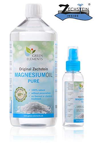 Zechstein Magnesium-Öl PUR aus Deutscher Abfüllung - Set aus 1000 ml Natursole + 100 ml Sprühflasche - Magnesium-Öl