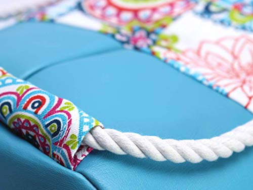 Blauer Rucksack mit buntem Mandala, veganer Seesack aus Canvas, mit Kordel aus Baumwolle - 2