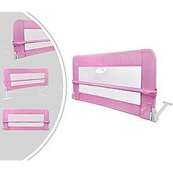 Leogreen - Barrière de Sécurité pour Lit de Bébé, Barrière de Sécurité Pliable, 1,2 mètre(s), Rose, Matériau: Tissu en nylon