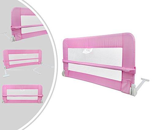 Leogreen - Baby- und Kleinkind-Sicherheits-Bettgitter, Klappbare Kinderbett-Tür, 1,2 Meter, Rosa, Material: Nylongewebe