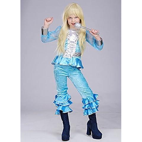 Los niños de los 70 Abba azul chica traje Medium (EU128 7-8yrs)