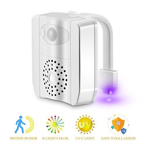 LED Toilette Nachtlicht mit UV-Desinfektion Licht, AOZBZ Bewegung Aktivierte 16 Farben Toilettenschüssel Beleuchtung WC Seat Lampe mit 2 Aromatherapie Stück