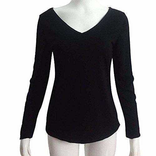 Culater® 1PC Femmes Nouveau T-Shirt V Col Chemisier Manches longues Blouse Casual en tête Noir