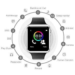 MGM ENTERPRISES Bluetooth Smartwatch with Camera, Activity Tracker with SIM, TIF Card and App Support for Smartphones