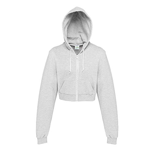 Just Hoods - Bauchfreie Kapuzenjacke für Damen / Heather Grey, XS Damen Kapuzen Sport Jacke