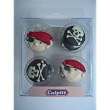 &12 PIRATE tête de mort (sucre gâteau Pipings Cupcake Toppers} {)
