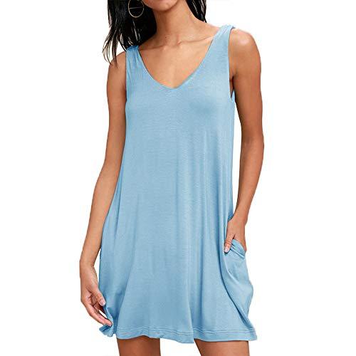 Blaues T-shirt Tasche (Damen lässiges Kleid ärmellos Kleid Bluse Elegant Lose Einfaches Beiläufiges Kleid Viskose Jersey Stretch Skaterkleid, Baumwollspitze T-Shirt Kleid mit Taschen, Blau, S)