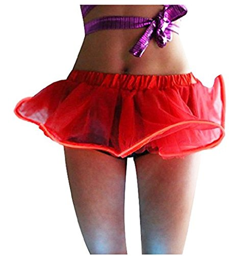 Damen Weihnachten Halloween Party Eine Linie Ballett Tütü Mini Rock mit LED Party Kurz Glam Gothic Vintage Petticoat Rock Tanzkleid Ballett Licht Glam Gotik Tüll Tanz Rock (Einheitsgröße, Rot-1)