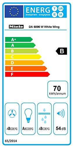 Miele DA 6096 W White Wing Wandhaube / 89,8 cm / Kopffreiheit mit brilliantweißem Glasschirm in 90 cm Breite / Leistungsstark 650 m³/h in Intensivstufe / brillantweiß -