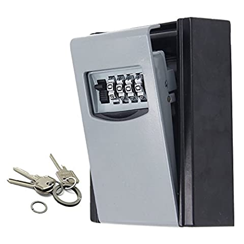 Ksun 4 Digit Combination Key Safe Box Wall Mounted Weather Resistant Secure Box Keys Holder for Home use with Exterior Waterproof Cover and Mounting Kit Key Storage Lock Box