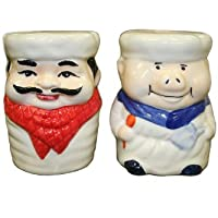 Bamboo Studio Ceramic Hand Painted Chef Piggy and Chef Man Salt and Pepper Shakers Set by Bamboo