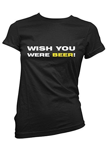 """T-shirt Donna """"Wish you were beer"""" - maglietta cool divertente 100% cotone LaMAGLIERIA,XL, Nero"""