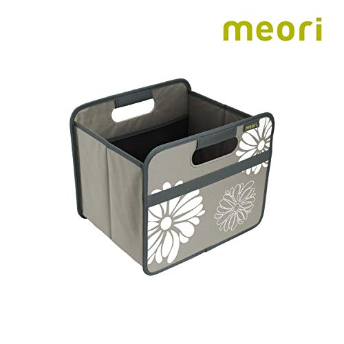 Faltbox Classic Small Stein Grau / Blumen 32x26,5x27,5cm abwischbar stabil Polyester platzsparend Garage Garten Terrasse Ausstattung mit Griffen Autobox Kofferraum Utensilien Werkzeug