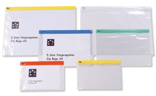 5 Star Zip Filing Bags PVC Clear Front with Coloured Seal A5 Assorted  Pack  of 213690d47b7