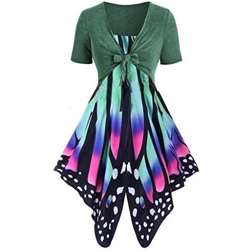 Auied Frauen Sommer frisch Schmetterling Print Hohe Taille Kleid Sling Set Cardigan Zweiteiliges Set Abendkleid