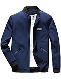 bd42eca14870 PengGengA Homme Loisirs Polyester Mince Bombardier Bomber Veste Blousons  Mens Lightweight Jacket