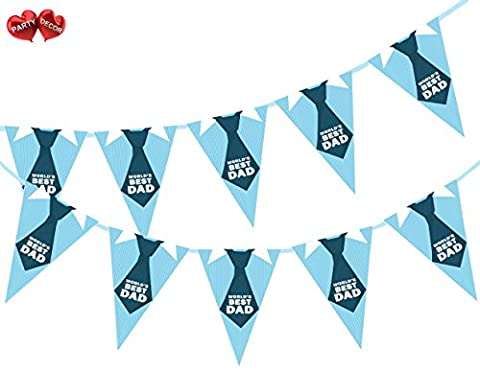 Happy Fathers Day World's Best Dad Shirt and Tie Themed Bunting Banner 15 flags for guaranteed simply stylish party decoration by PARTY