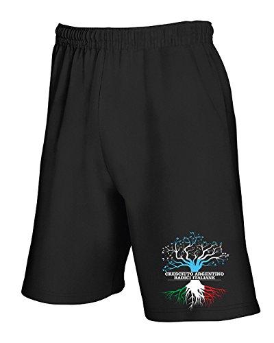 Cotton Island - Pantalone Tuta Corto T1015 cresciuto argentino radici italiane fun cool geek Nero