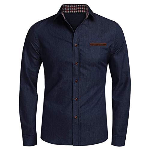 Ncenglings Männer Hemd Herren Business Hemd Modern Slim Fit - Bügelfreies Hemd mit geradem Schnitt, Kent-Kragen & Brusttasche - Langarm - 100% Baumwolle -