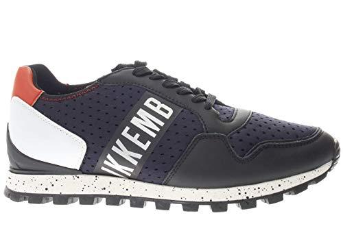 Bikkembergs Sneakers Uomo Pelle Nera Blu Scuro e Arancione. cod. BKE109305 Taglia 42