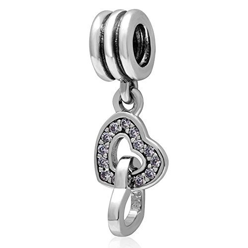 Soulbead, ciondolo a forma di cuori incastrati tra loro in argento sterling 925con zirconi trasparenti per bracciale o collana