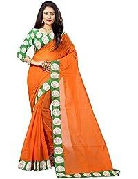 Rajeshwar Fashion Women's Chanderi Cotton Saree With Unstitched Blouse Piece