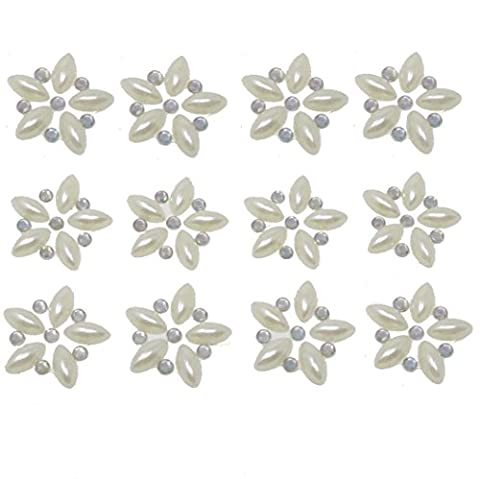 12 x Self Adhesive Diamante and Pearl Flowers Embellishment AB Acrylic Rhinestone Clusters Crystals Stick on