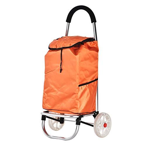 Outdoor-Einkaufstaschen Faltbare Einkaufswagen mit 2 Rädern / 30L Kapazität Tasche Leichte Aluminiumlegierung Korb Markt Lebensmittelgeschäft Warenkorb in Orange