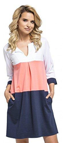 Glamour Empire. Damen Etuikleid mit horizontalen Streifen und Taschen. 303 (Koralle & Marine, EU 44, XXL)