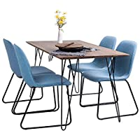 Joolihome Rectangular Dining Table and Set of 4 Dining Chairs for Office Lounge Dining Kitchen (wood table+ blue chair)