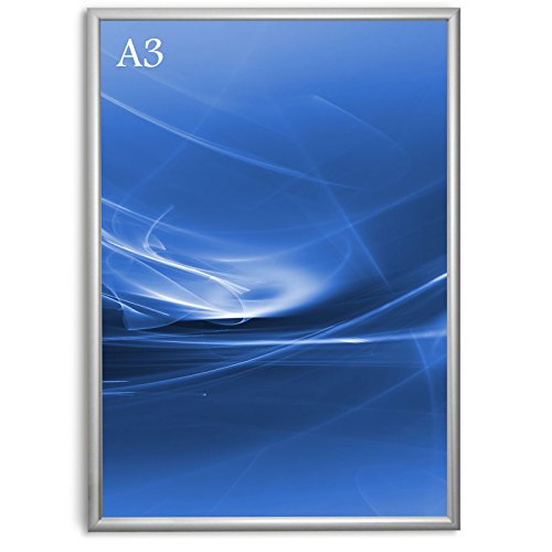 Master of Boards Alu Klapprahmen Plakatrahmen Wechselrahmen Bilderrahmen Ladeneinrichtung Silber Aluminium Rahmen für Plakate Rahmen für Bilder Rahmen Aushang Klicksystem (Gehrung, DIN A3)