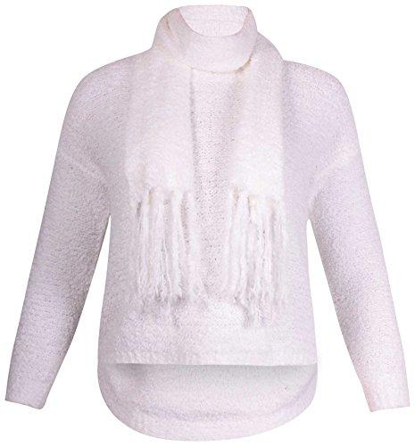 femmes grande taille Ladies manches longues ourlet asymétrique écharpe tricot queue PULL Crème