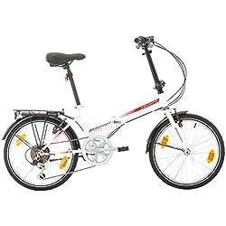 "Bikesport FOLDING Bicicleta plegable ruedas de 20"" Shimano 6 velocidades (Blanco brillante rojo)"