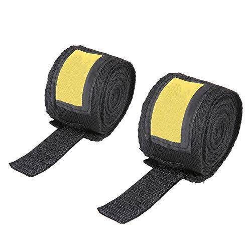YouN 2 Stück 2,5 m Länge Universal Baumwolle Sport Gurt Boxbandagen Handbandagen, schwarz
