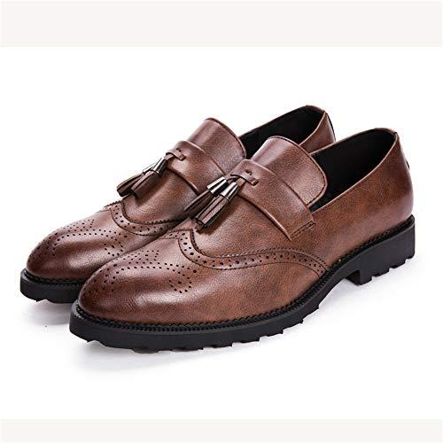 HILOTU Herren Oxford Schuhe Komfortable Slip-on Penny Loafer Low Top Klassische Fransen Carving Brogue Dress Schuhe (Color : Braun, Größe : 38 EU)