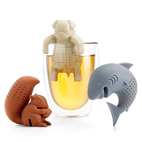 Sweese 2204- colini da tè divertenti, in silicone alimentare e senza bpa, approvati da fda, a forma di scoiattolo, squalo e carlino, set da 3pezzi