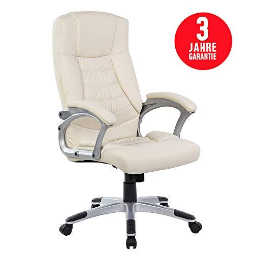 Inova Design Chefsessel Bürostuhl 150kg belastbar Bequemster Office Pc Stuhl Höhenverstellbarer Bürosessel Mit Armlehne Chefsessel Leder Imitat Bürodrehstuhl Schreibtischsessel Beige